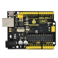 Keyestudio UNO R3 Board for Arduino - Black + Yellow. Keyestudio UNO R3 BOARD Overview: Keyestudio Uno R3 is a microcontroller board based on the ATmega328 (datasheet). It has 14 digital input/output pins (of which 6 can be used as PWM outputs), 6 analog inputs, a 16MHz ceramic resonator, a USB connection, a power jack, an ICSP header, and a reset button. It contains everything needed to support the microcontroller; simply connect it to a computer with a USB cable or power it with a AC-to-DC…
