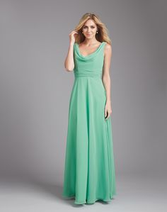 Allure 1371 Dress Sleeveless Cowl Neckline Ruched Waistband