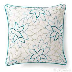 Embroidered Aqua Lola Pillow - Dering Hall