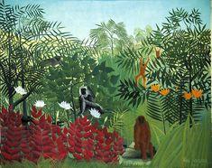 Douanier Rousseau : Forêt tropicale avec singes_1910_