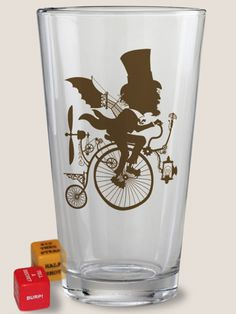 """""""Inventor Silhouette"""" Pint Glass by Trixie and Milo #InkedShop #pint #glass #cup #silhouette #dice #drinkingdice #college #party #gift"""