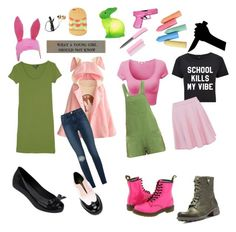 """""""Bob's Burgers: Louis Belcher"""" by notasupervillian ❤ liked on Polyvore featuring Go Green M by M, Elizabeth and James, Dr. Martens, Frame Denim, Melissa, Cobb Hill, L'F Shoes, Forever 21 and Hello Kitty"""