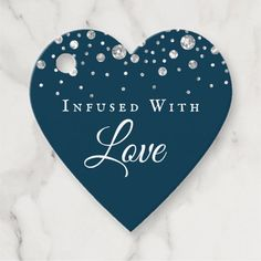 Infused With Love Navy Blue Confetti Heart Wedding Favor Tags