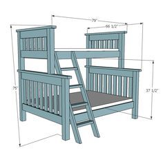 Ana White Build a Twin over Full Simple Bunk Bed Plans Free and Easy DIY Project and Furniture Plans Bunk Beds With Stairs, Cool Bunk Beds, Twin Bunk Beds, Kids Bunk Beds, Loft Beds, Triple Bunk Beds, Bunk Bed Plans, Diy Bett, Modern Bunk Beds