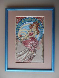 "Cross Stitch by Yaroslava Shevchenko (Russia). Работа выполнена по картине Альфонса Мухи ""Живопись""."