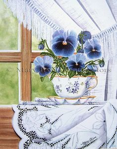 """""""Cup-a-Pansies"""" by Mary Irwin Watercolor ~ 14"""" x 10"""""""