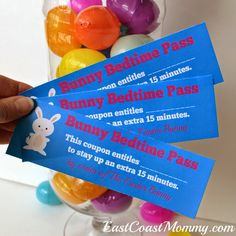 Easter Bunny Coupons... such a cute item for sticking in a plastic egg.