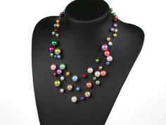 Multi-Strand Assorted Multi-Colour round Shell Beads women Necklace in Pearl | eBay