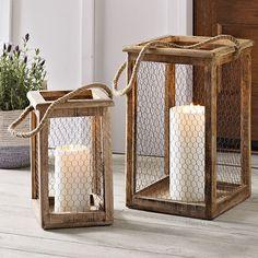 Small Lanterns, Wooden Lanterns, Lanterns Decor, Candle Lanterns, Led Candles, Diy Crafts Lanterns, Porch Lanterns, Antique Farmhouse, Farmhouse Decor
