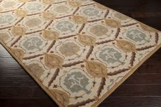 Connersville CNNRS with colors Khaki, Khaki/Medium Gray/Tan/Camel/Dark Brown/Wood. Hand Tufted Wool Traditional made in India Dining Table Rug, Damask Rug, Floral Area Rugs, European House, Brown Floral, Accent Furniture, Accent Decor, Wall Decor, Pillows