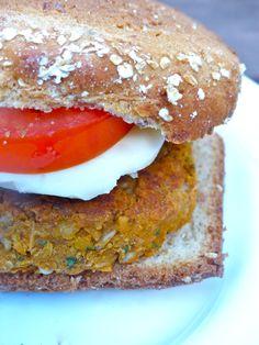Garlic, basil and tomato veggie burger