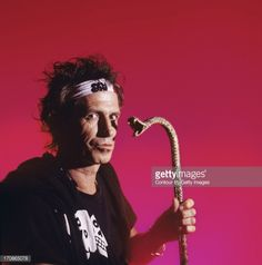 Keith Richards of the Rolling Stones is photographed at a portrait shoot in the 1990's in New York City.