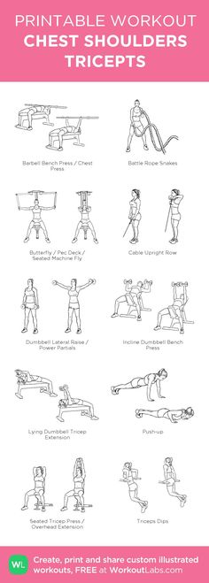 Fitness Motivation: 10 Fitness Ideas That Will Keep You Going Chest And Shoulder Workout, Chest And Tricep Workout, Chest Workout Women, Back And Shoulder Workout, Chest Workout Routine, Triceps Workout, Chest Workouts, Gym Workouts, Shoulder Workout Women
