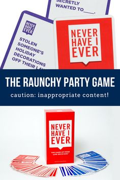 """This easy-to-play, card-based game is not for anyone under 18 years old, and is so wildly inappropriate, it's sure to make everyone blush as they admit their deepest, darkest, craziest secrets. While Never Have I Ever can be played at any party without cards, this card version adds hilarious new rules to the game that keeps it fresh. Also, the included cards ensure that no one draws a blank when it's their turn to come up with a """"Never have I ever..."""" It's the raunchy party game for adults!"""