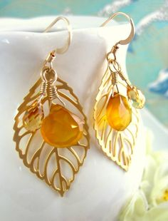 Gold leaf earrings with yellow chalcedony drops by KBlossoms, $43.00