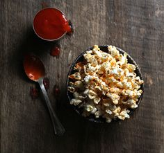 Sriracha-Coconut Popcorn with Smoked Sea Salt /
