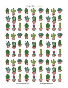 Cactus Kawaii Description: The sheet of this printable planner stickers size is 8.5″ x 11″ inches 1 ZIP file containing 1 JPG file, 1 PDF file & 1 Silhouette cut file. (300dpi) Materials neede