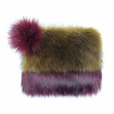 Pom Pom Clutch Bag by Helen Moore: Olive & Burgundy - Lush Labels Green Handbag, Green Purse, Burgundy Handbags, Brown Handbags, Pom Pom Clutch, Cowgirl Chic, Faux Fur Pom Pom, New Handbags, Brown Purses