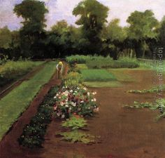 New Hamburg Garden, Oil On Canvas by James Carroll Beckwith United States) Landscape Art, Landscape Paintings, Landscapes, Parks, Sense Of Sight, Garden Illustration, Garden Park, Old Paintings, Oil Painting Reproductions