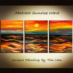 Abstract Dawn Sea Wave HUGE contemporary Decor Abstract by elseart, $235.00