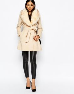 Image 4 of Michelle Keegan Loves Lipsy Coat With Faux Fur Collar