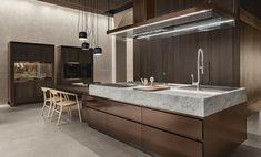 Modern kitchen interiors show three global design trends: minimalist style, living kitchen design, and smart appliances Modern Kitchen Interiors, Contemporary Kitchen Design, Modern Design, Contemporary Style, Light Kitchen Cabinets, Hidden Kitchen, Stylish Kitchen, Design Studio, Cuisines Design