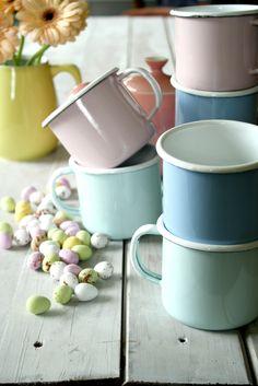 enamel mugs in pretty pastels