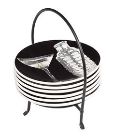 Take a look at this Black Martini 6'' Plate & Caddy Set by Signature Housewares on #zulily today!