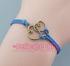 Bronze heart bracelet Heart to heart charm Blue Wax Cord bracelet Gift for Best friend Sister Birthday Party Graduation by DelicateGift, $0.99