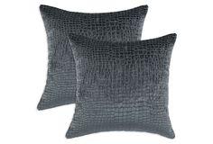 S/2 Crocodile 17x17 Pillows, Teal on OneKingsLane.com