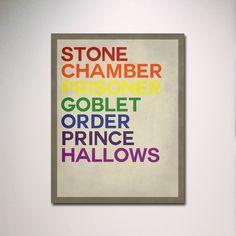 "Harry Potter Rainbow Titles Typography 11"" x 14"" Poster / Wall Art. $15.00, via Etsy."