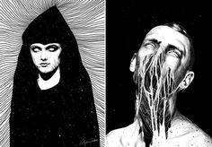 Shady Portraits Illustrations  Anders Rokkum is a tattoo artist and illustrator based in Norway. Through his very-detailed black and white portraits he merges us in a nightmare a spooky world inhabited by strange human-like creatures. A selection of his artwork is to discover in the following.                 #xemtvhay