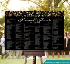 Wedding Seating Chart   RUSH SERVICE  Gold Black by HappyBlueCat