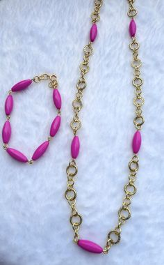 Pink or Black Bead Necklace  Jewelry for Work  by ByKeeksWithLove