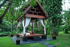 Like a Balinese Bale. Bali Garden, Tropical Garden, Home And Garden, Thai House, Garden Pavilion, Garden Gazebo, Outdoor Spaces, Outdoor Living, Pergola