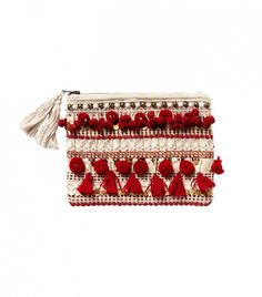 How cute is this tasseled pouch?! // Anthropologie Pom Tasseled Pouch