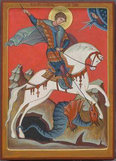 Юрій змієборець Religious Paintings, Religious Art, Dragon Icon, Saint George And The Dragon, Angel Sculpture, Byzantine Icons, Art Icon, Orthodox Icons, Medieval Art