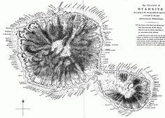 Tahiti und die kleinere Insel Tahiti Iti – »Nach fünf Stunden tauchten zu ihrer Rechten die Felsen von Tahiti Iti auf. Zu Almas Entsetzen hielt Tomorrow Morning direkt darauf zu. Würden sie an den Felsen zerschellen? War dies der makabre Zweck dieser Reise? Doch dann entdeckte sie eine Art Torbogen im Fels, eine dunkle Öffnung, den Eingang zu einer Höhle, auf einer Höhe mit dem Meeresspiegel.« S. 578