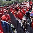 AT Union workers and supporters hold a rally on the New Haven Green in unity of ongoing contract negotiations with workers nationwide. The rally drew over an estimated 500 union members and their supporters. Photos/ Peter Casolino New Haven Registe
