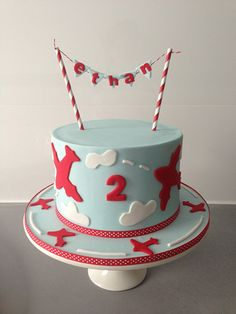 Aeroplane themed cake with bunting by Finesse Cakes by Ingrid, Melbourne