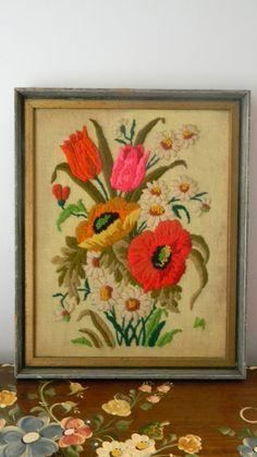 Vintage Large Floral Crewel Embroidery