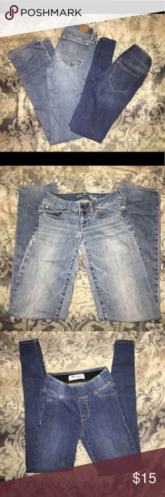 Jeans Lot 1 pair of hollister straight cut stretch jeans and 1 pair old navy super skinny legging jean both sz 0 Pants Skinny