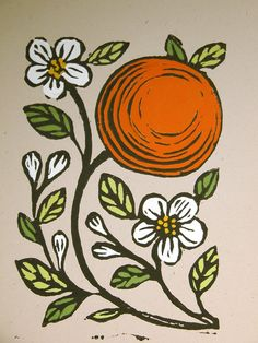 My original Oranges and Blossoms block print is printed on recycled acid free kraft card stock in Speedball black water soluble ink, and hand painted Botanical Illustration, Illustration Art, Blossom Tattoo, Guache, Tampons, Orange Blossom, Art Projects, Original Art, Creations