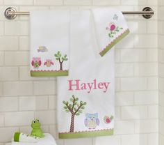 Hayley Bath Towels | Pottery Barn Kids  SO CUTE! I guess we need to agree on a name first...