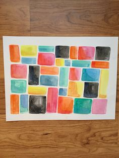 Abstract watercolor painting Squares and Rectangles on Instagram @see_amy_draw