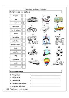 Vocabulary Matching Worksheet - Transport