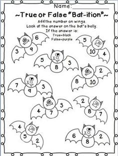 Halloween Math Worksheet Printable | Holiday Coloring Pages ...
