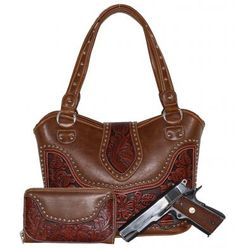 Tooled Concealed Carry Purse w/ Wallet by Montana West (Color: Brown)