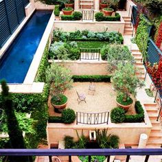Terraces with lap pool