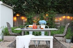 New Modern Rustic Outdoor Privacy Screen + The Rest Of My Patio Outdoor Wood Dining Table, Rustic Outdoor, Outdoor Tables, Outdoor Decor, Privacy Wall Outdoor, Privacy Walls, Nantucket, Design Jardin, Backyard Patio Designs